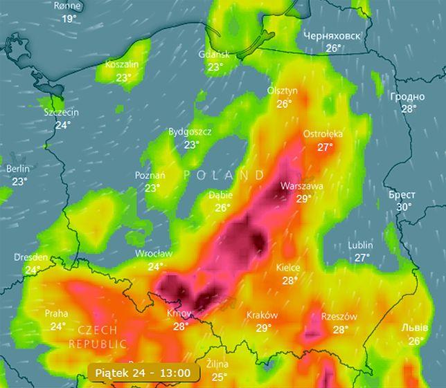 """Najsilniejsze burze prognozowane są na piątkowe popołudnie i wieczór. To wtedy wytworzy się """"rózga burzowa"""""""