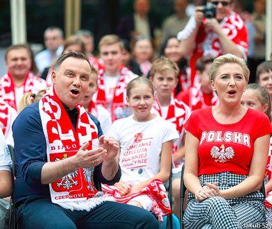 Andrzej Duda z żoną kibicował polskiej reprezentacji