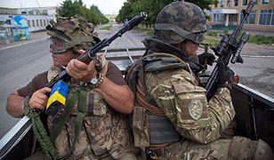 Ukraińskie siły w miasteczku Marjinka
