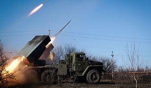 """Wyrzutnia rakiet """"Grad"""" pod Gorłówką we wschodniej Ukrainie"""