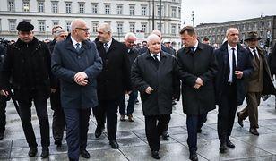 Od lewej: Joachim Brudziński, Jarosław Kaczyński, Mariusz Błaszczak