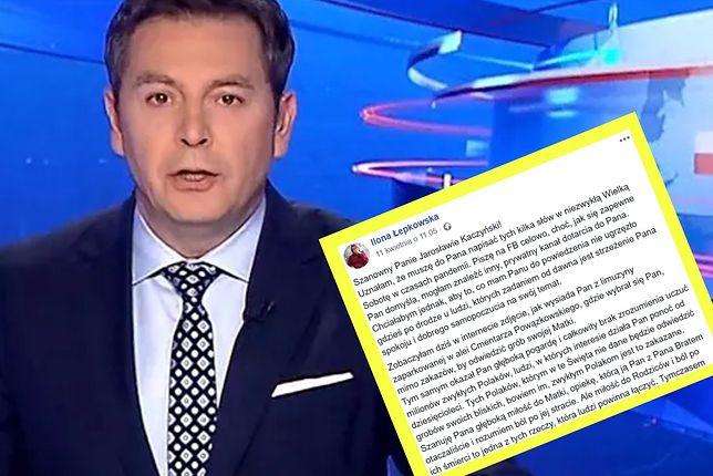 """""""Wiadomości"""" odniosły się do listu otwartego Ilony Łepkowskiej do Jarosława Kaczyńskiego."""