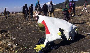 Szczątki samolotu, który rozbił się w Etiopii