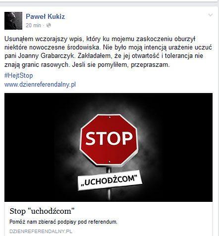 """Paweł Kukiz przeprasza szefową akcji """"HejtStop"""""""