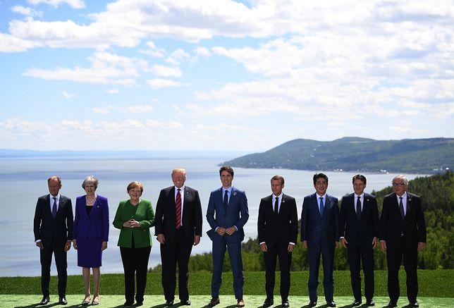 Donald Tusk z uczestnikami szczytu G7 w Charlevoix