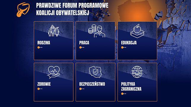 """Strona """"Prawdziwe Forum Programowe Koalicji Obywatelskiej"""""""