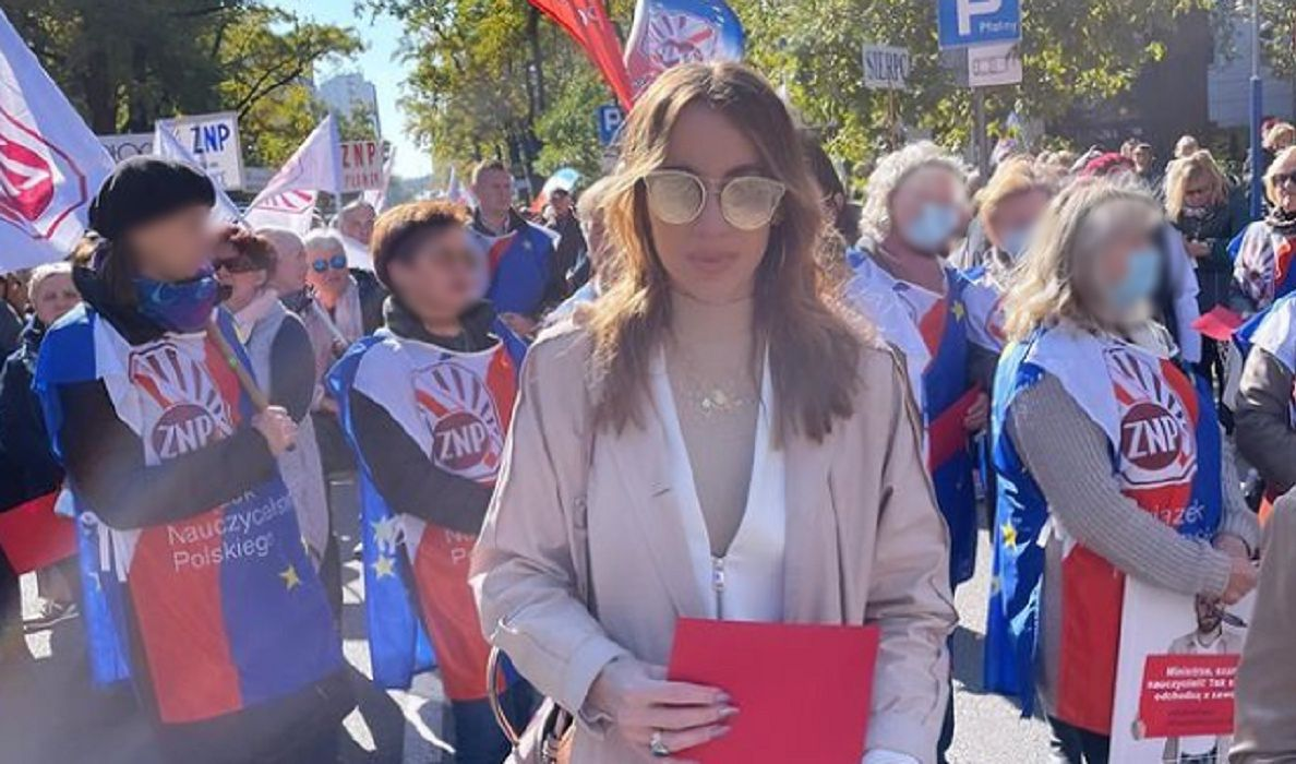 Protest nauczycieli. Marianna Schreiber wzięła udział w pikiecie