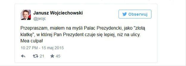Janusz Wojciechowski przeprasza za wpis o klatce