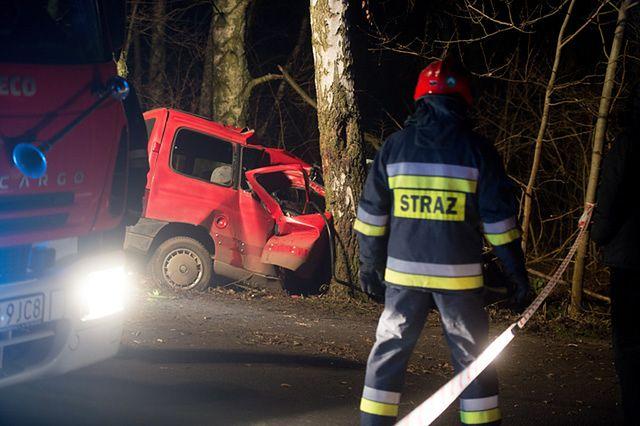 Śmiertelny wypadek w Zgierzu. Peugeot uderzył w drzewo