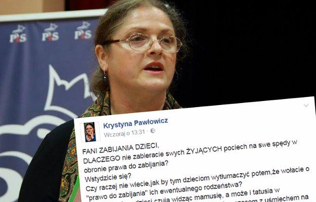 """""""Fani zabijania dzieci"""" w """"satanistycznych odzieniach"""". Krystyna Pawłowicz komentuje """"czarny protest"""""""