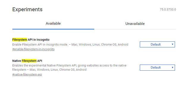 """""""FileSystem API in Incognito"""" wśród ustawień flag w Chrome Canary."""