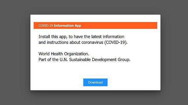 Informacja zachęcająca do pobrania aplikacji związanej z koronawirusem, w rzeczywistości skutkuje pobraniem malware.