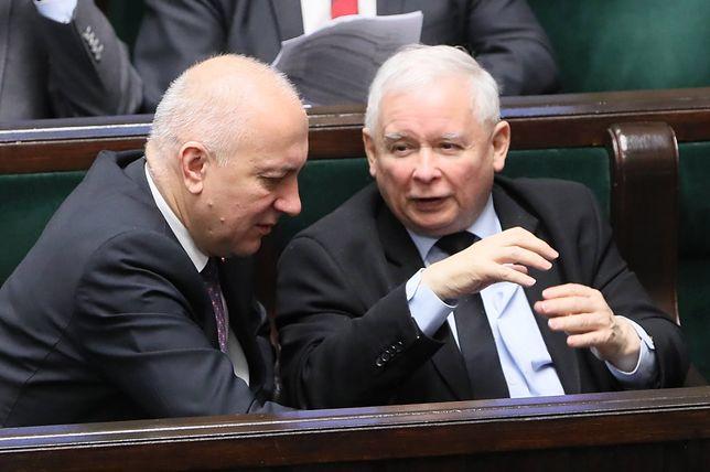 Joachim Brudziński i Jarosław Kaczyński w Sejmie
