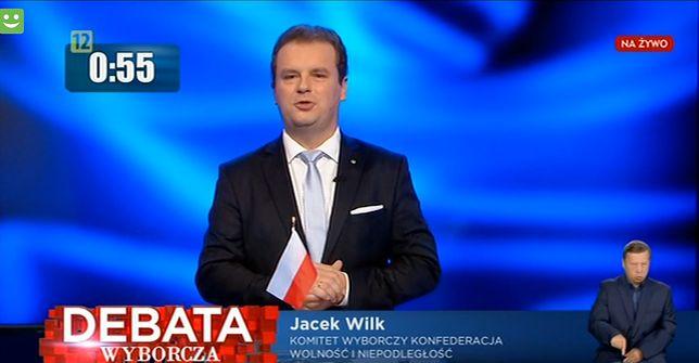 Jacek Wilk podczas debaty w TVP.