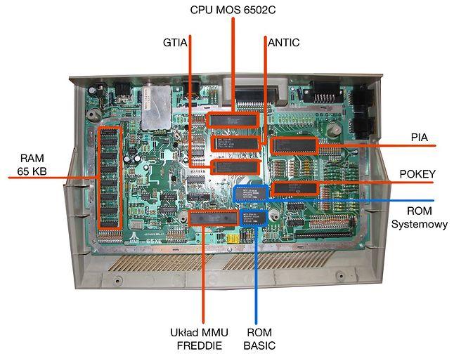 Płyta Atari 65 XE. W pierwszych seriach miała jednak oznaczenie 900XLF.