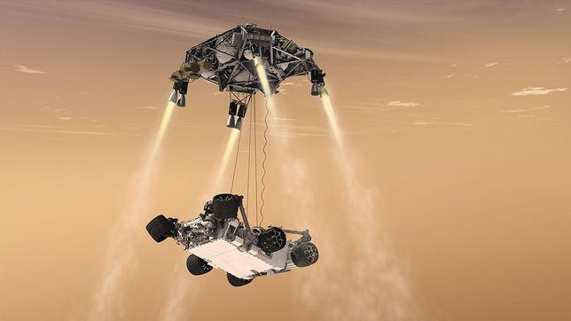 Lądowanie na Marsie łazika Perseverance - wizualizacja