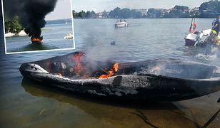 Czaplinek. Pożar motorówki na jeziorze Drawskim. Turyści skakali do wody