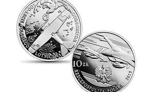 Srebrna moneta od NBP na 100-lecie polskiego lotnictwa wojskowego.