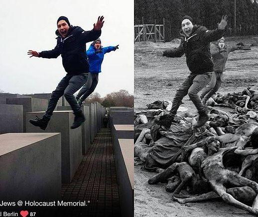 Yolocaust. Pozują przy Pomniku Pomordowanych Żydów Europy, on przerabia ich zdjęcia