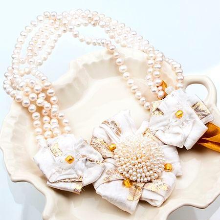 Naszyjnik - jedwab, perły, kryształy, murano...