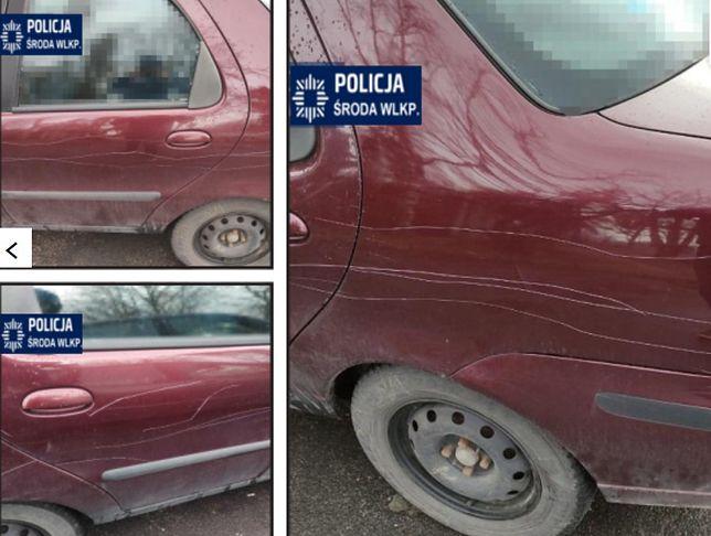 Senior niszczył inne samochody. Powód zaskakuje (KPP Środa Wielkopolska)