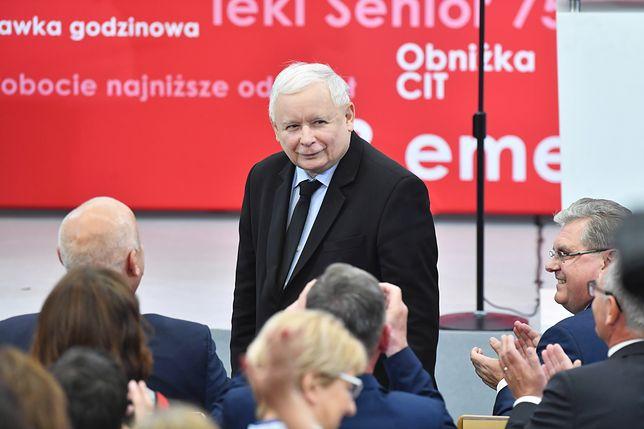 Prezes PiS Jarosław Kaczyński na regionalnej konwencji wyborczej w Koszalinie.