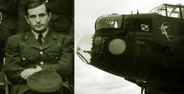 Por. pil. Mikołaj Kirkilewicz w mundurze RAF i Lancaster PB 854 BH-I, którym dowodził