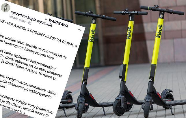 Hulajnogi hive sa dostępne w Warszawie i Wrocławiu