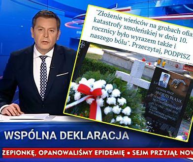 """Michał Adamczyk odczytujący treść """"wspólnej deklaracji"""" na antenie TVP"""