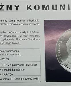 """Kup sobie """"za darmo"""" medal z Piłsudskim. Skarbnica Narodowa wie, jak zarobić na 100. rocznicy odzyskania niepodległości"""