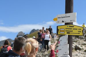Signs with directions from the top of Kasprowy Wierch pic. Thanks to the sunny weather at the end of summer holidays, the Tatra trails are under siege with hikers and tourists. On Monday, August 19, 2019, in Zakopane, Lesser Poland Voivodeship, Poland. (Photo by Artur Widak/NurPhoto via Getty Images)