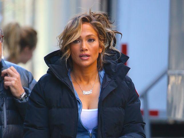 Jennifer Lopez na planie filmowym w Nowym Jorku