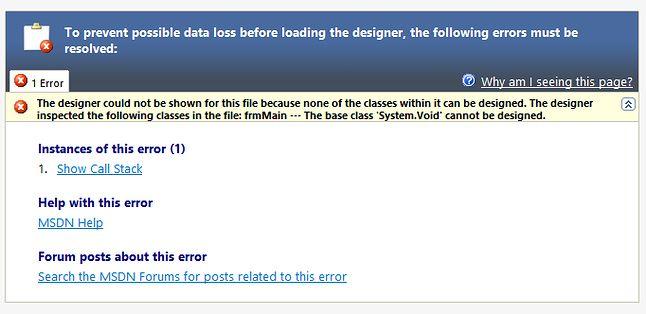 Projektant Form dla .NET Core 3.0 miewa problemy. Oczywiście ten dla klasycznego Frameworka działa doskonale od siedemnastu lat