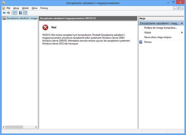 Zarządzanie udziałami i magazynowaniem to chyba jedyne narzędzie, które nie współpracuje z Windows Server 2012 - zostało zastąpione przez Menedżera serwera