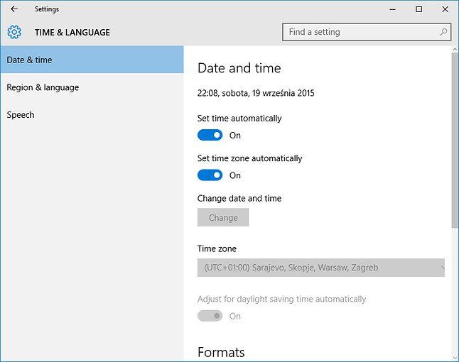 Automatyczne ustawienia strefy czasowej - brawo Microsoft!