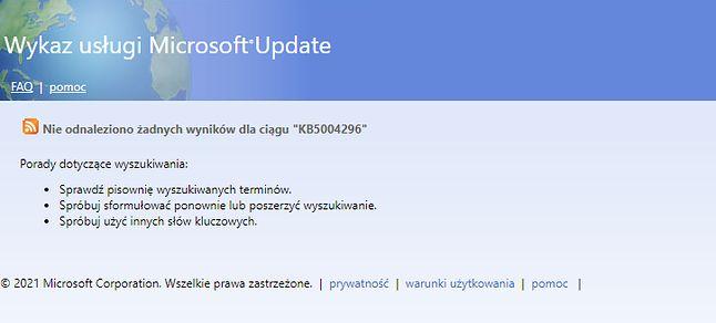 Nie ma takiej wersji 21H2. Jest 2004, Windows 11, Lądek Zdrój...