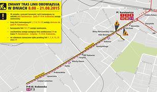 Grójecka bez tramwajów. Prawie do końca sierpnia