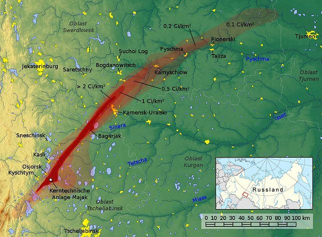 Zasięg radioaktywnej chmury po katastrofie