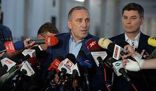 Grzegorz Schetyna i Jan Grabiec na briefingu PO.