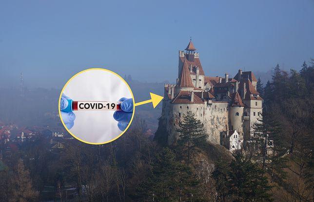 Punkt szczepień w zamku w Branie (Rumunia)