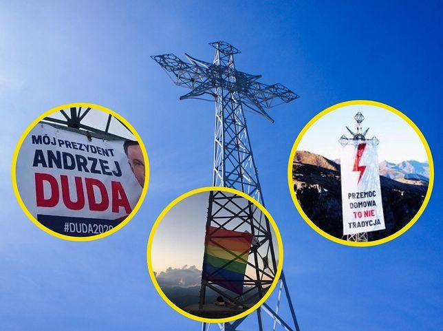 Banery i flagi na krzyżu na Giewoncie w Tartach. Prokuratura o postępowaniach (Kolaż WP)