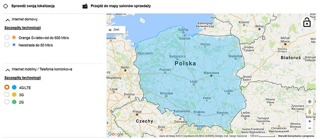 Mapa zasięgu LTE ze strony orange.pl