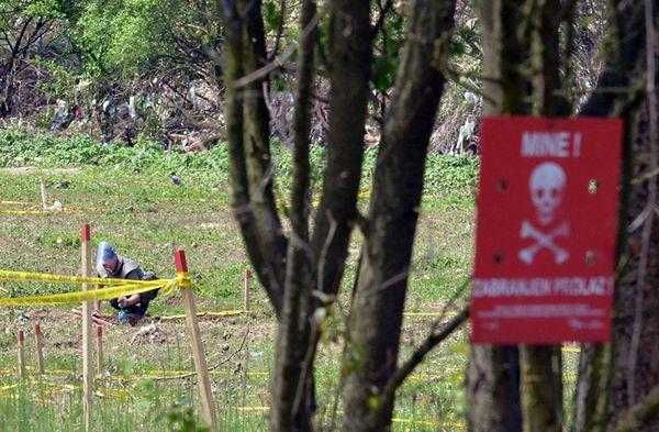 Bośniacki saper sprawdza pole minowe po przejściu powodzi