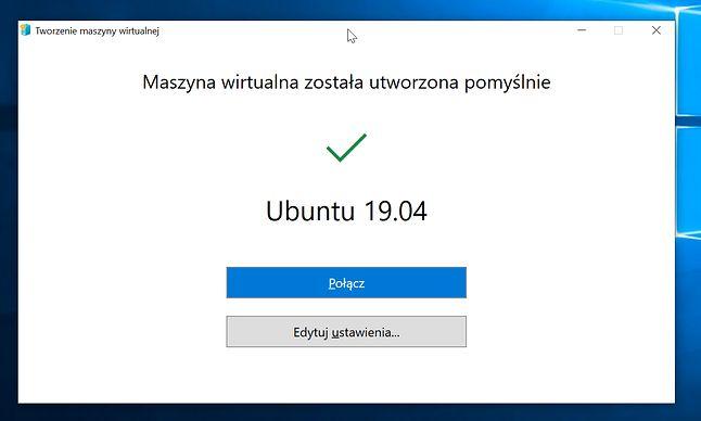 Instalacja Ubuntu 19.04 zakończona, można się połączyć