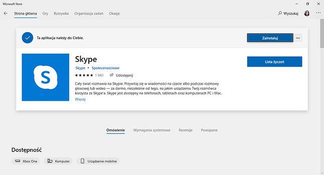 Jeden z ośmiuset dwudziestu pięciu klientów Skype'a dla Windows