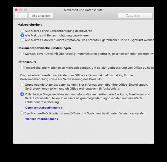 Ustawienia ochrony danych: domyślnie włączona pełna telemetria, można też się zgodzić na wysyłanie swoich danych osobowych do Microsoftu (źródło: heise.de)
