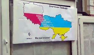 Na plakacie widnieją kontury Polski i Ukrainy oraz zarzuty wobec naszego kraju