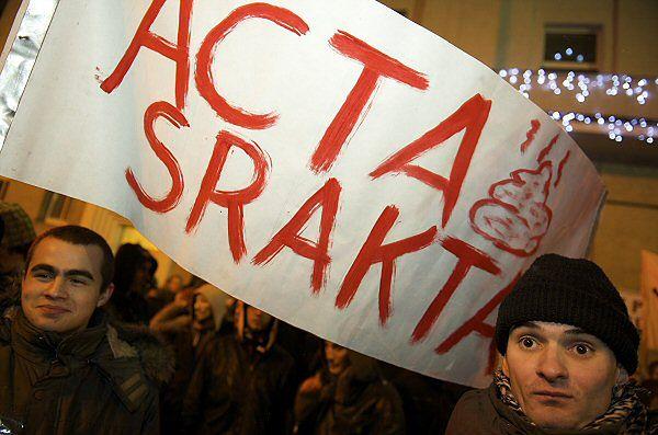Protest w Gdyni przeciw podpisaniu ACTA