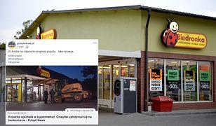 Koparka wbiła się w witrynę sklepu Biedronka