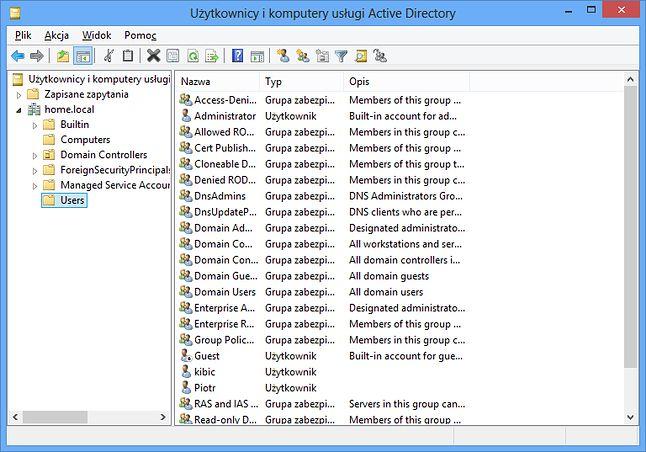 Użytkownicy i komputery usługi Active Directory